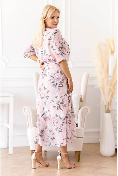 elegancka sukienka maxi w kwiaty z kopertowym dekoltem - duże rozmiary