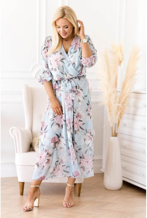 Błękitna sukienka maxi w kwiaty z kopertowym dekoltem - ADELA