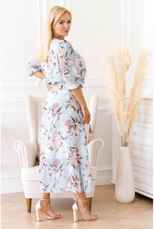 wizytowa sukienka maxi w kwiaty z kopertowym dekoltem
