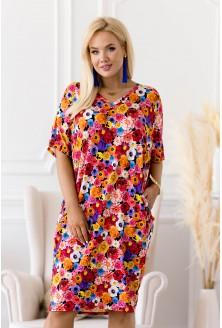 Kolorowa sukienka z tasiemką na plecach