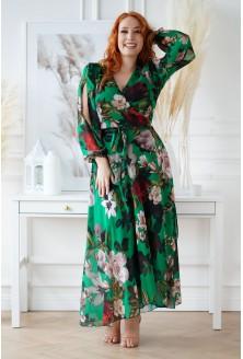 Długa butelkowa sukienka w kwiaty