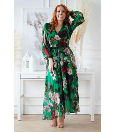 Długa butelkowa sukienka w kwiaty z kopertowym dekoltem - Anhela