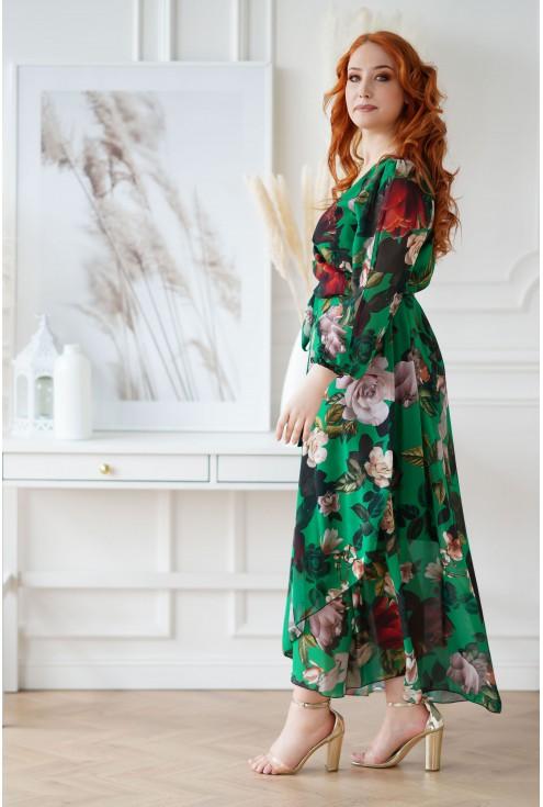 Długa sukienka z kopertowym dekoltem