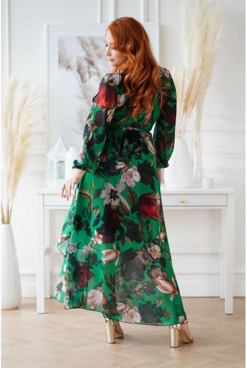 butelkowa sukienka XXL w kwiaty
