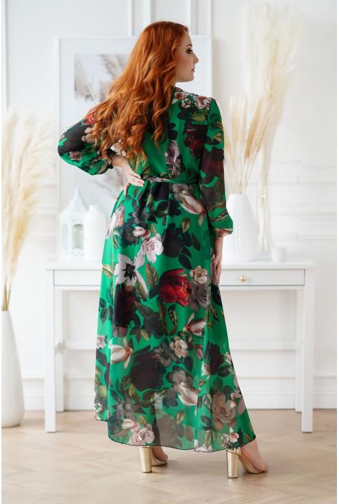 butelkowa sukienka w kwiaty XXL