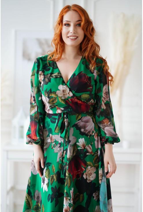 butelkowa sukienka z kopertowym dekoltem