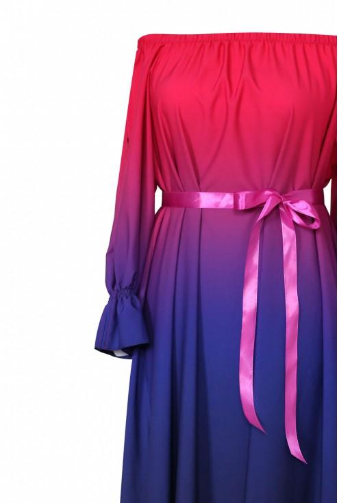 Różowo-fioletowa sukienka maxi - PANDORA OMBRE