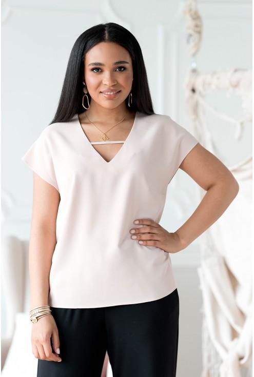 Beżowa bluzka plus size z dekoltem V