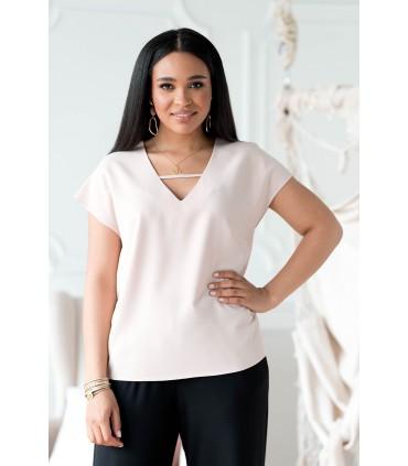 Beżowa bluzka plus size z dekoltem V i paseczkiem - FELIPA