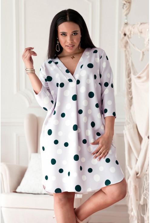sukienka w biało-czarne kropki