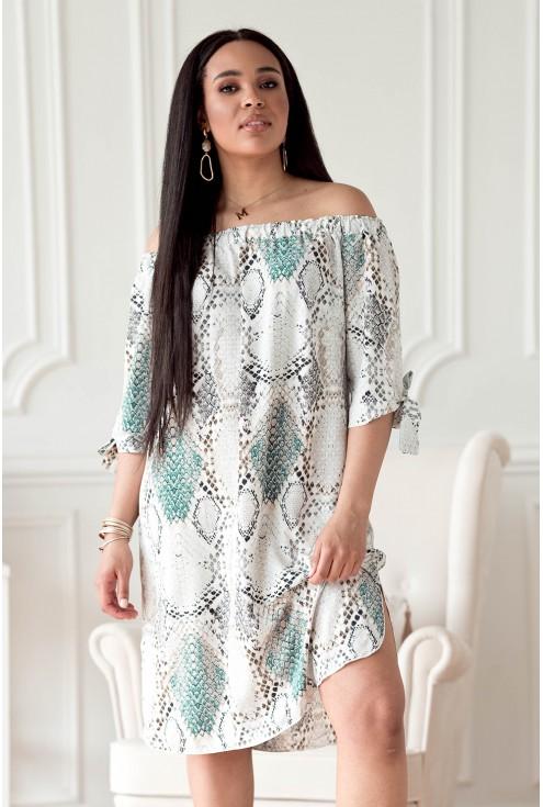 Kremowo-turkusowa sukienka z wzorem w skórę węża