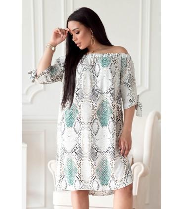 Kremowo-turkusowa sukienka z wzorem w skórę węża - MARITA