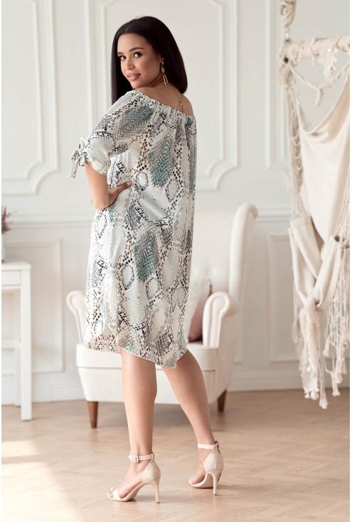 Kremowo-turkusowa sukienka  w dużych rozmiarach