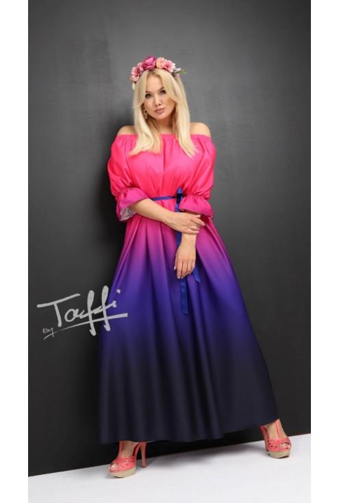 różowo-fioletowa sukienka ombre