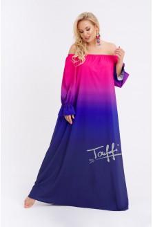 Różowo-fioletowa sukienka maxi XXL