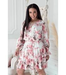 Kremowa sukienka w pudrowe kwiaty z falbanami - LITIA