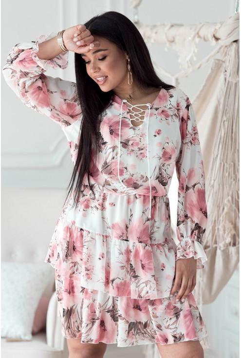 Kremowa sukienka z falbanami - LITIA