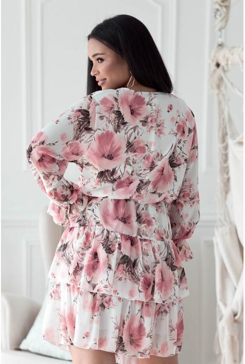 Kremowa sukienka w kwiaty plus size