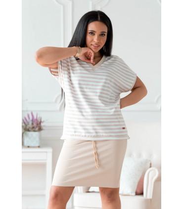 Biało-beżowy zestaw dresowy ze spódnicą - Bessie