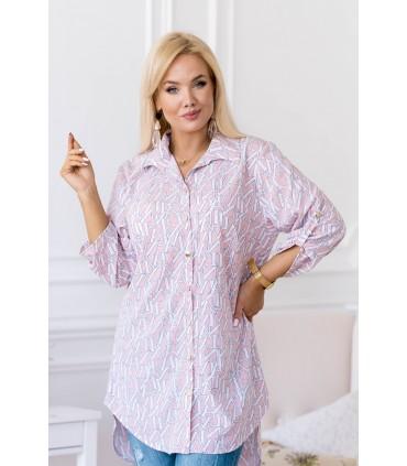Pudrowa tunika/koszula w białe litery - Missy