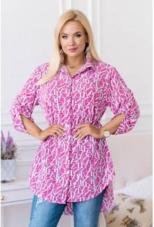 Różowa tunika/koszula w białe litery