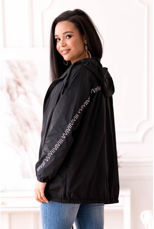 Czarna letnia kurtka przeciwdeszczowa z ozdobnymi taśmami