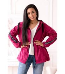 Różowa cienka kurtka przeciwdeszczowa z ozdobnymi taśmami - MARGOT