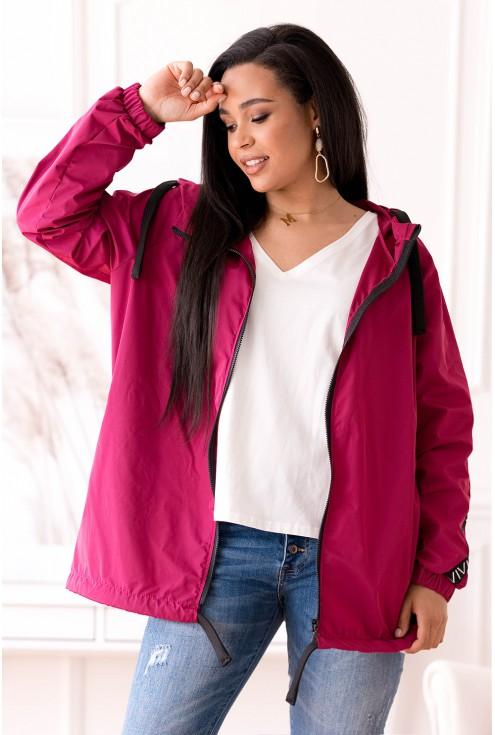Różowa cienka kurtka przeciwdeszczowa plus size