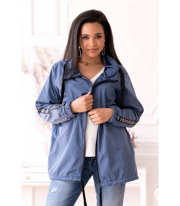 Cienka kurtka przeciwdeszczowa z taśmami - kolor jeansowy - MARGOT