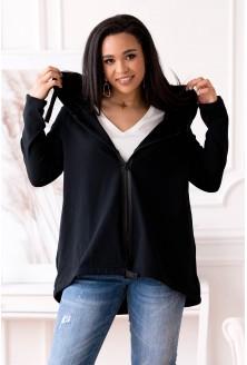 Czarna bluza z kapturem zapinana na suwak plus size