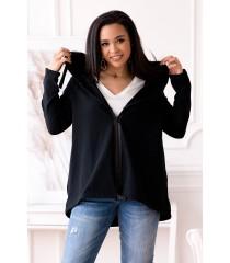 Czarna bluza z kapturem zapinana na suwak - ALIZEE