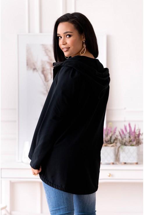 Tył damskiej czarnej bluzy z kapturem plus size