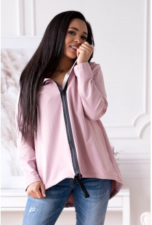 pudrowa bluza dłuższy tył xxl plus size