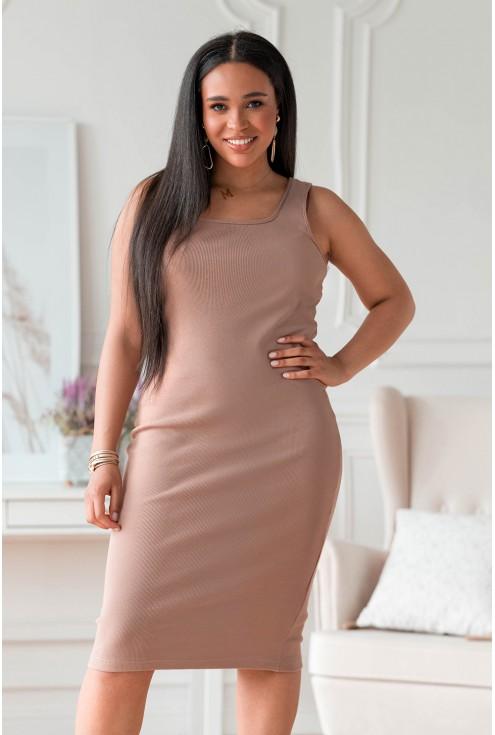 Beżowa dopasowana sukienka z prążkiem