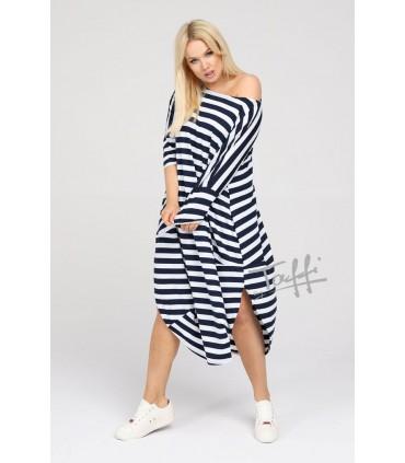 Sukienka JAJKO - wzór w biało-granatowe paski