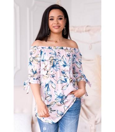Pudrowa bluzka hiszpanka w kwiaty - MARIBEL