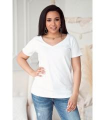 Biała bluzka z dekoltem w serek - CLER