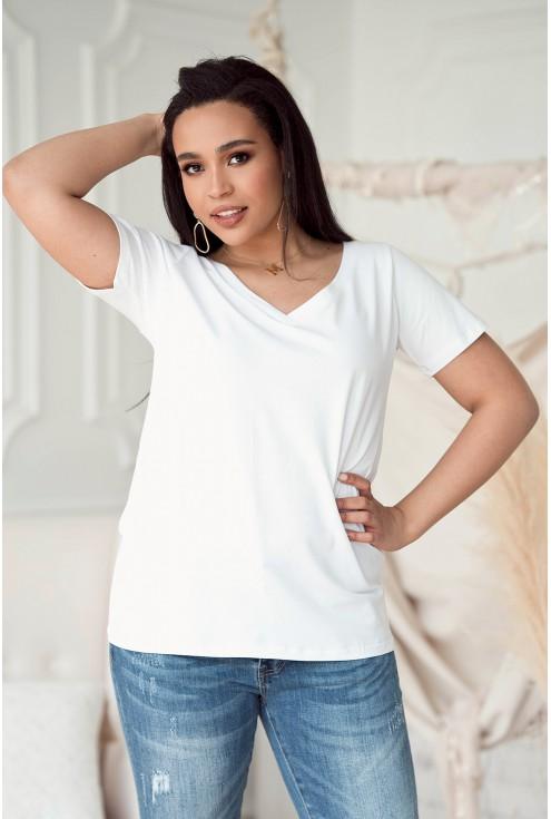 biała klasyczna bluzka plus size