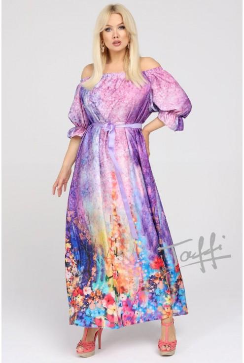 Sukienka maxi z kwiatowym dołem pandora
