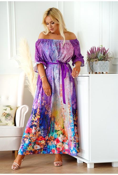 fioletowo różowa sukienka hiszpanka maxi