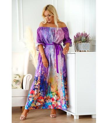 Sukienka maxi z kwiatowym dołem - mix fiolet - PANDORA