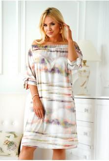 Jasnoszara sukienka hiszpanka z kolorowym wzorem