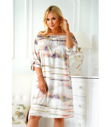Jasnoszara sukienka hiszpanka z kolorowym wzorem - MARITA