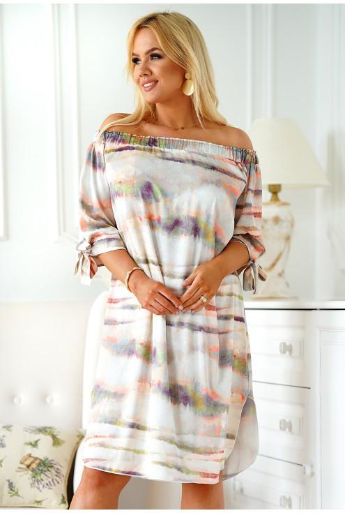 sukienka hiszpanka z kolorowym wzorem