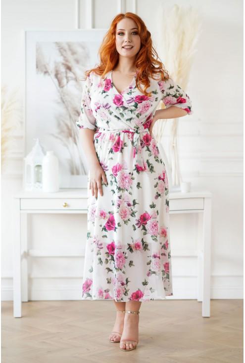 Kremowa sukienka maxi w kwiaty