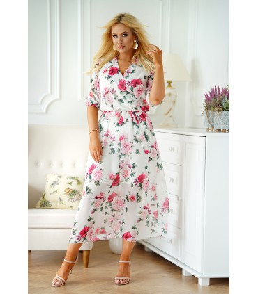 Kremowa sukienka maxi w kwiaty z kopertowym dekoltem - ADELA