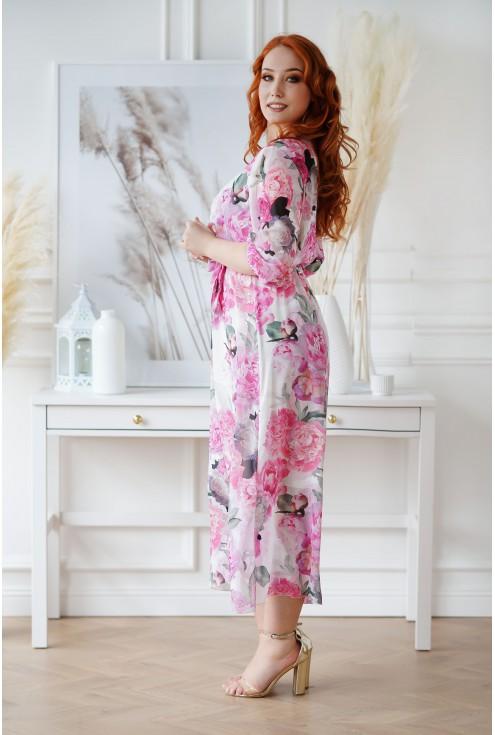 Kremowa sukienka z kopertowym dekoltem - ADELA