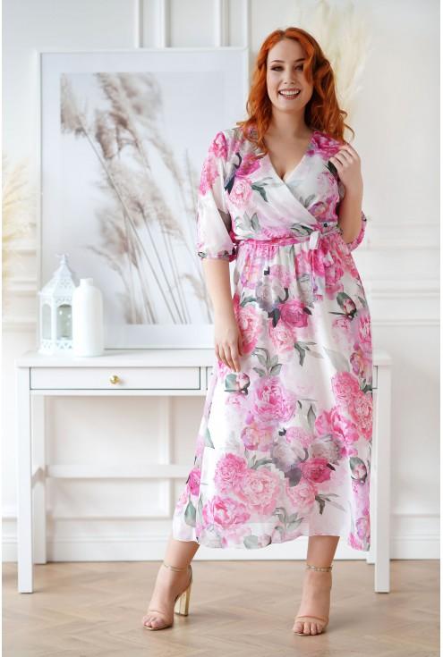Kremowa sukienka maxi w duże kwiaty