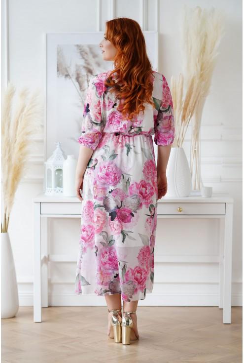 sukienka maxi w duże różowe kwiaty