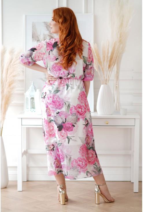 Kremowa sukienka maxi XXL w duże różowe kwiaty